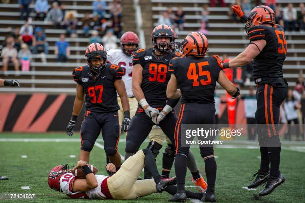 Princeton Tigers defensive lineman Joey DeMarco reacts after sacking Harvard Crimson quarterback Jake Smith during the second half of the college...