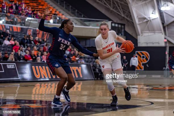 Princeton Tigers forward Bella Alarie drives to the basket during the Ivy League college basketball game between the Penn Quakers and Princeton...