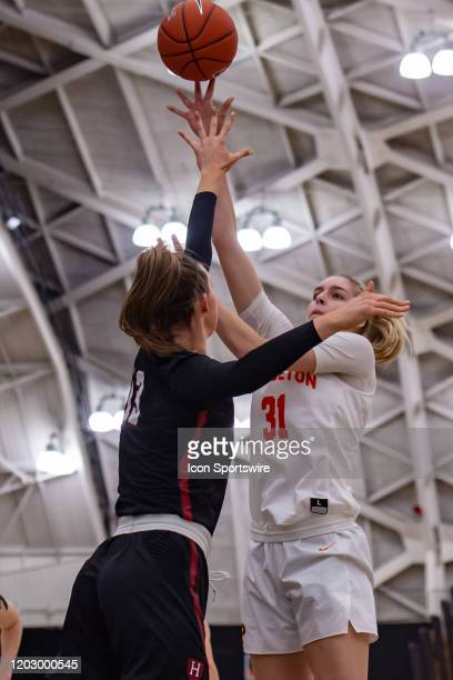 Princeton Tigers forward Bella Alarie shoots the ball during the Ivy League college basketball game between the Harvard Crimson and Princeton Tigers...