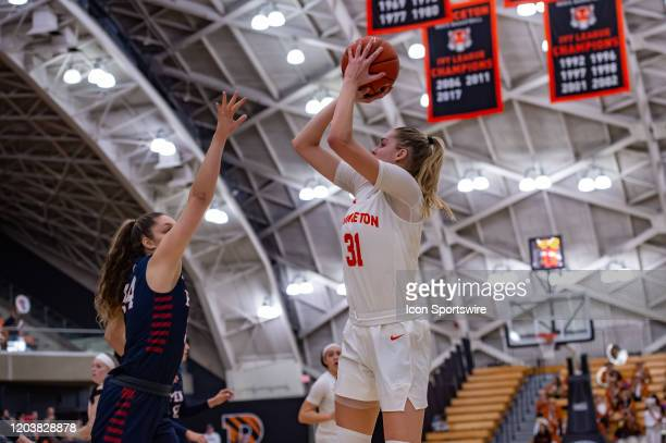 Princeton Tigers forward Bella Alarie shoots the ball during the Ivy League college basketball game between the Penn Quakers and Princeton Tigers on...