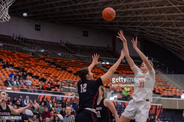 Princeton Tigers forward Bella Alarie shoots the ball during the second half of the Ivy League college basketball game between the Harvard Crimson...