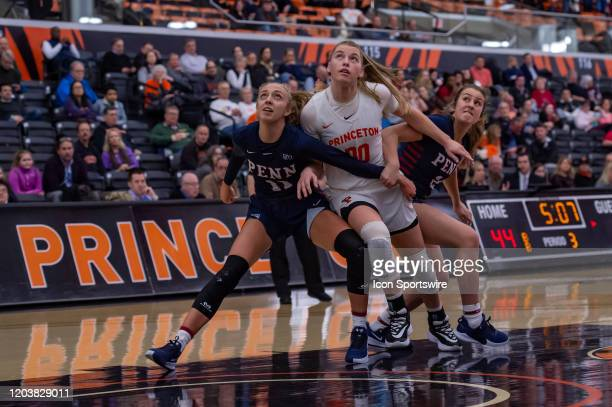 Princeton Tigers forward Ellie Mitchell fights for position with Pennsylvania Quakers guard Kendall Grasela during the Ivy League college basketball...