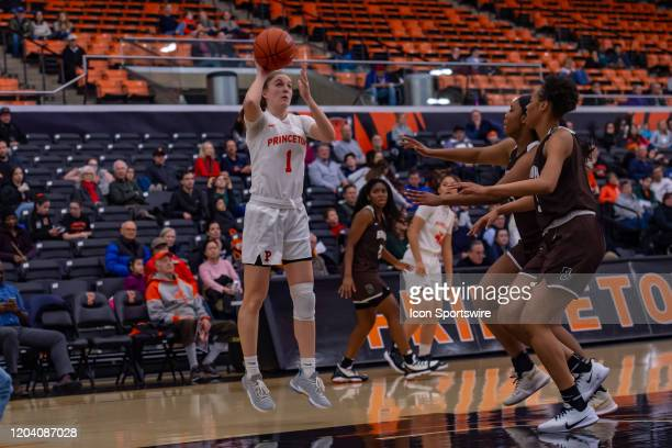 Princeton Tigers guard Abby Meyers shoots the ball during the second half of the Ivy League college basketball game between the Brown Bears and...