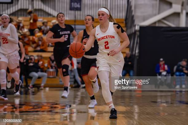Princeton Tigers guard Carlie Littlefield handles the ball during the Ivy League college basketball game between the Harvard Crimson and Princeton...