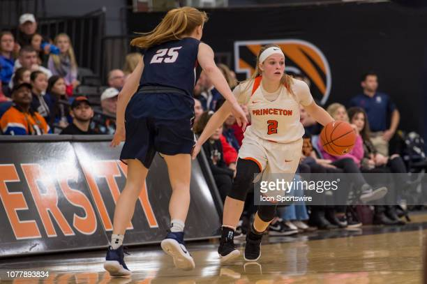 Princeton Tigers guard Carlie Littlefield sets the play during the second half of the college basketball game between the Penn Quakers and Princeton...
