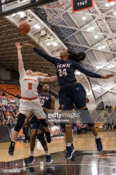 Princeton Tigers guard Carlie Littlefield shoots the ball during the second half of the college basketball game between the Penn Quakers and...