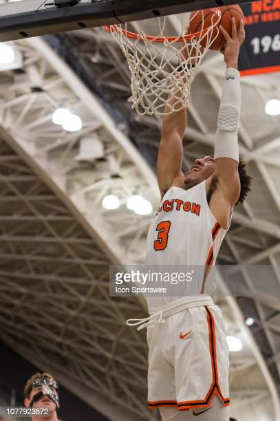 Princeton Tigers guard Devin Cannady dunks the ball during the first half of the college basketball game between the Penn Quakers and Princeton...