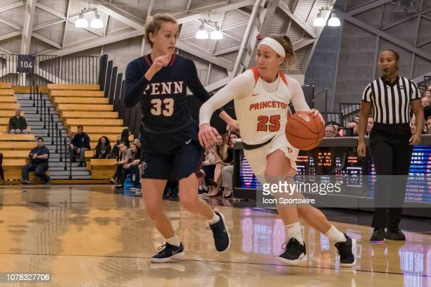 Princeton Tigers guard Gabrielle Rush drives to the basket during the second half of the college basketball game between the Penn Quakers and...