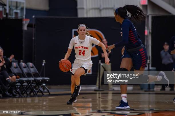 Princeton Tigers guard Julia Cunningham during the Ivy League college basketball game between the Penn Quakers and Princeton Tigers on February 25...
