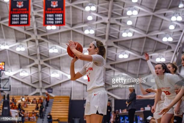 Princeton Tigers guard Julia Cunningham shoots the ball during the second half of the Ivy League college basketball game between the Brown Bears and...