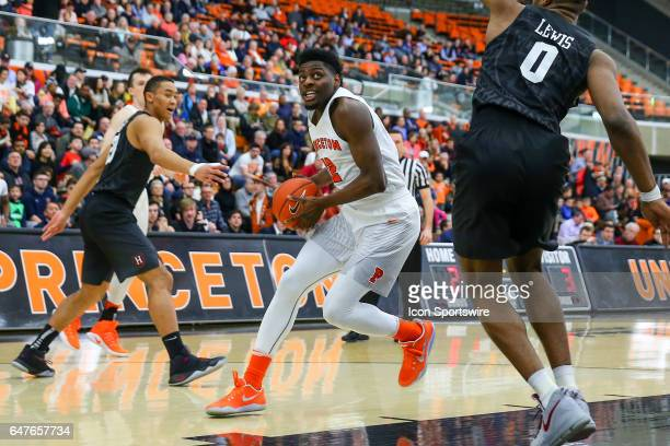 Princeton Tigers guard Myles Stephens drives to the basket during the College basketball game between the Princeton Tigers and the Harvard Crimson on...