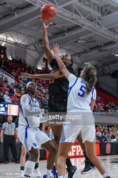 Princeton Tigers guard Sydney Jordan goes up for the jump hook during the 2019 Div 1 Women's Championship First Round college basketball game between...