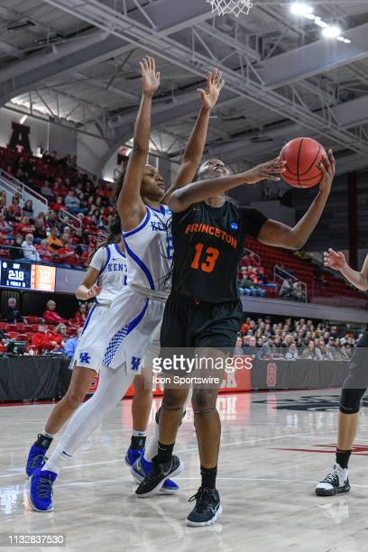Princeton Tigers guard Sydney Jordan is defended by Kentucky Wildcats forward Ogechi Anyagaligbo during the 2019 Div 1 Women's Championship First...