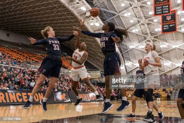 Princeton Tigers guard/forward Sydney Jordan sets the play during the second half of the college basketball game between the Penn Quakers and...