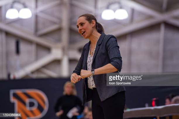 Princeton Tigers head coach Carla Berube reacts during the second half of the Ivy League college basketball game between the Brown Bears and...