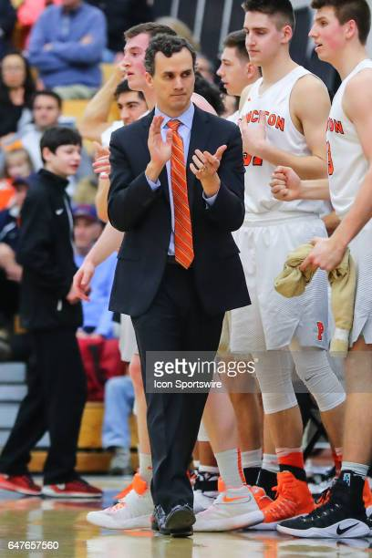 Princeton Tigers head coach Mitch Henderson during the second half of the College basketball game between the Princeton Tigers and the Harvard...