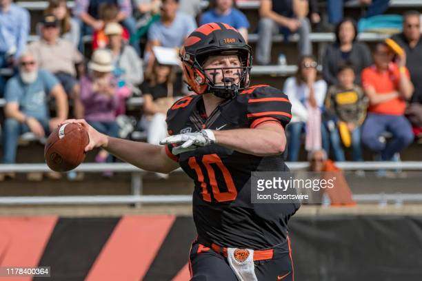 Princeton Tigers quarterback Kevin Davidson drops back to pass during the first half of the college football game between the Harvard Crimson and...