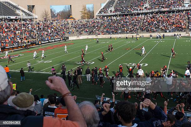 Princeton University football fans and alumni cheer a touchdown made by the Princeton team during the 5923 defeat over Yale University in Princeton...