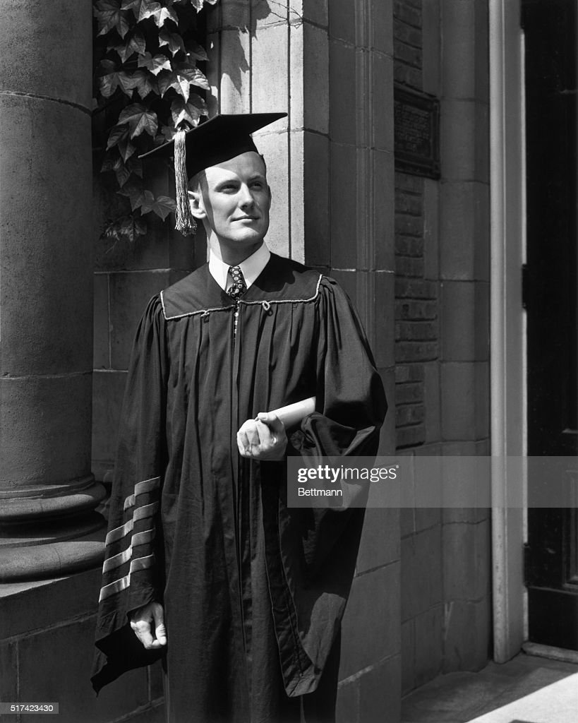 Princeton University Graduate in Gown and Mortarboard Pictures ...