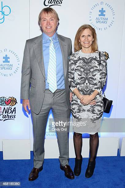 Principal and Founder of Fortress Investment Group Wesley Edens and Lauren Edens attend the Autism Speaks Tipoff For A Cure 2015 on March 30 2015 in...