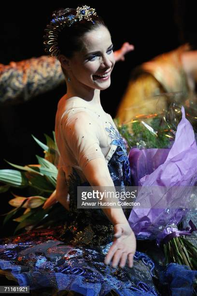 Principal dancer Darcey Bussell smiles at the curtain call after The Royal Ballet Gala for Britain's Queen Elizabeth II at the Royal Opera House at...