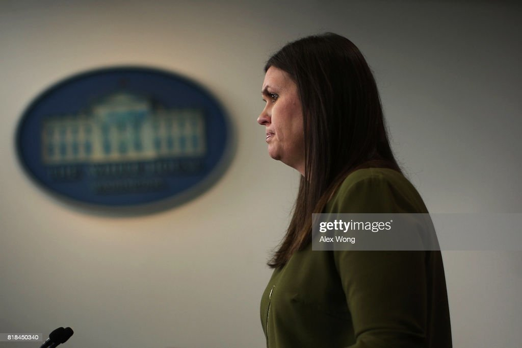 Principal Deputy Press Secretary Sarah Huckabee Sanders speaks during an off-camera press briefing at the James Brady Press Briefing Room of the White House July 18, 2017 in Washington, DC. Sanders held the press briefing to answer questions from members of the White House press corps.