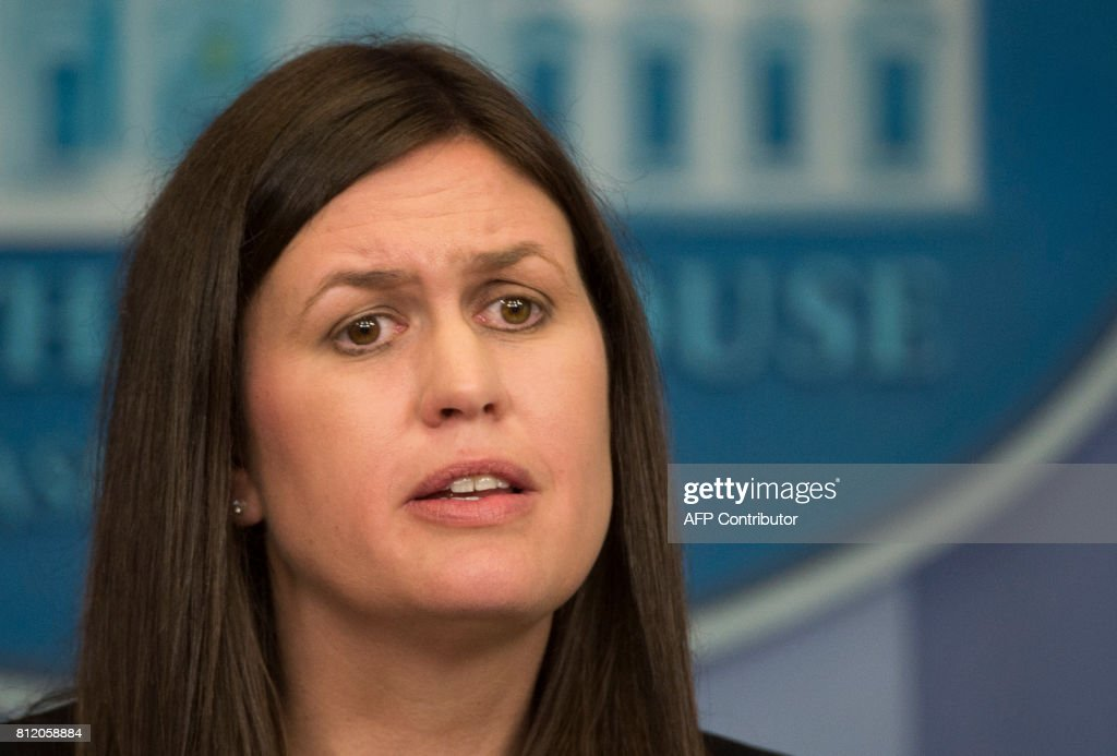 Principal Deputy Press Secretary Sarah Sanders speaks during the daily press briefing at the White House on July 10, 2017, in Washington, DC. /