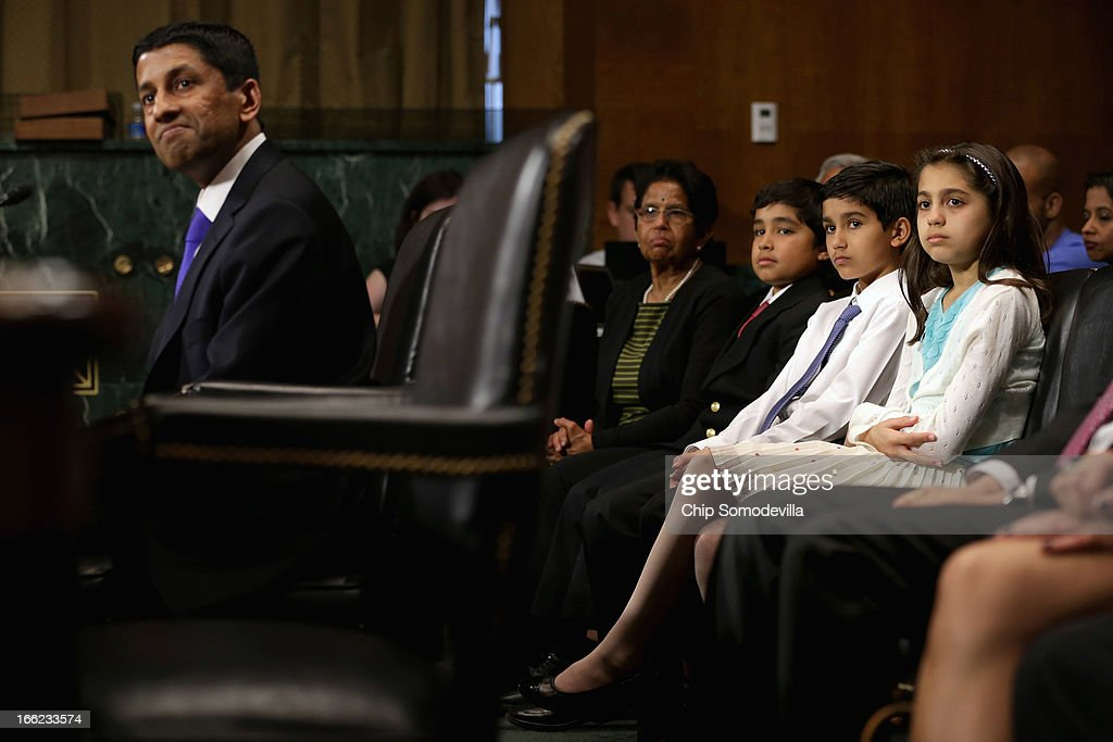 Principal Deputy Solicitor General of the United States Srikanth Srinivasan (L) testifies during his confirmation hearing before the Senate Judiciary Committee as his twin children (R-L) Maya and Vikram Srinivasan, 11, his nephew Akhil Srinivasan Joondeph and his mother Saroja Srinivasan look on, on Capitol Hill April 10, 2013 in Washington, DC. U.S. President Barack Obama has nominated Sirnivasan to be circuit judge for the United States Court of Appeals for the District of Columbia Circuit. A significant number of Supreme Court appointees were previously D.C. Circuit Court judges.