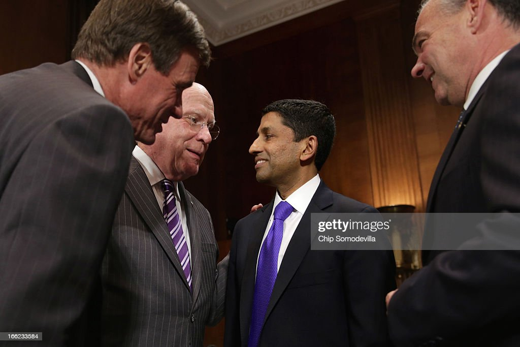 Principal Deputy Solicitor General of the United States Srikanth Srinivasan (2nd R) visits with (L-R) Sen. Mark Warner (D-VA), Senate Judiciary Committee Chairman Patrick Leahy (D-VT) and Sen. Tim Kaine (D-VA) before Srinivasan's confirmation hearing on Capitol Hill April 10, 2013 in Washington, DC. U.S. President Barack Obama has nominated Sirnivasan to be circuit judge for the United States Court of Appeals for the District of Columbia Circuit. A significant number of Supreme Court appointees were previously D.C. Circuit Court judges.
