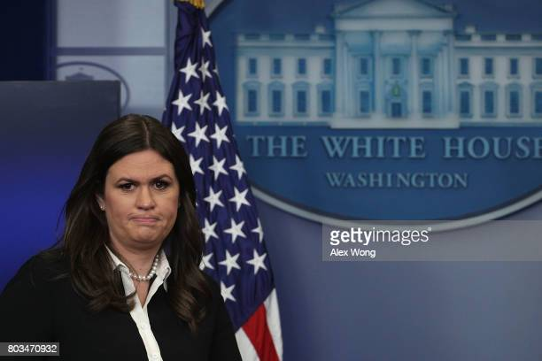 Principal Deputy White House Press Secretary Sarah Huckabee Sanders approaches the podium for a White House daily briefing at the James Brady Press...