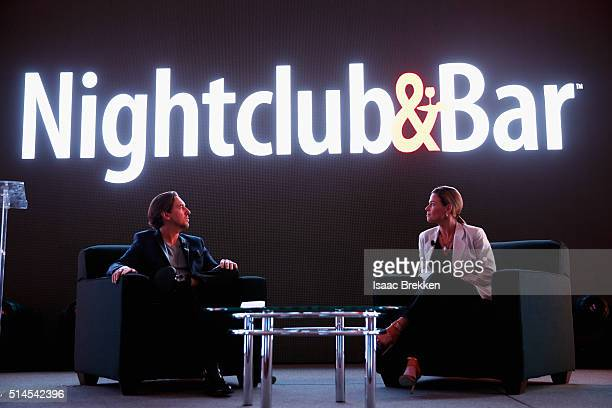 Principal of Bar Magic Tobin Ellis and chef Cat Cora speak onstage during the 31st annual Nightclub Bar Convention and Trade Show on March 8 2016 in...
