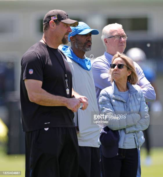 Principal Owner and Chairman Sheila Ford Hamp watches the afternoon practice session with Head Coach Dan Campbell and General Manager Brad Holmes and...