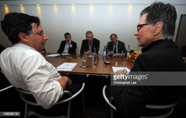 Principal Owner John Henry and NESV Chairman Thomas Werner talk to the media during the New Liverpool owners Media Round Table at myhotel on November...