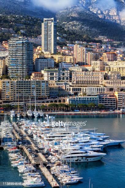 principality of monaco, monaco, monte carlo, cityscape at marina - monte carlo stock pictures, royalty-free photos & images