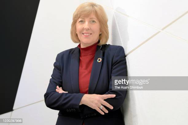 Principles for Responsible Investment CEO Fiona Reynolds poses for photographs during the Asahi Shimbun interview on February 13, 2020 in Tokyo,...