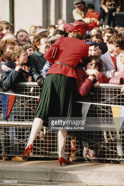 Princss Diana meeting people during a visit to Deeside November 1981 She is wearing a Donald Campbell suit and John Boyd hat