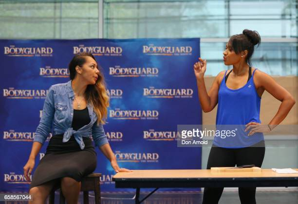 Prinnie Stevens and Paulini perform a scene during rehearsals for The Bodyguard rehearsal on March 28 2017 in Sydney Australia
