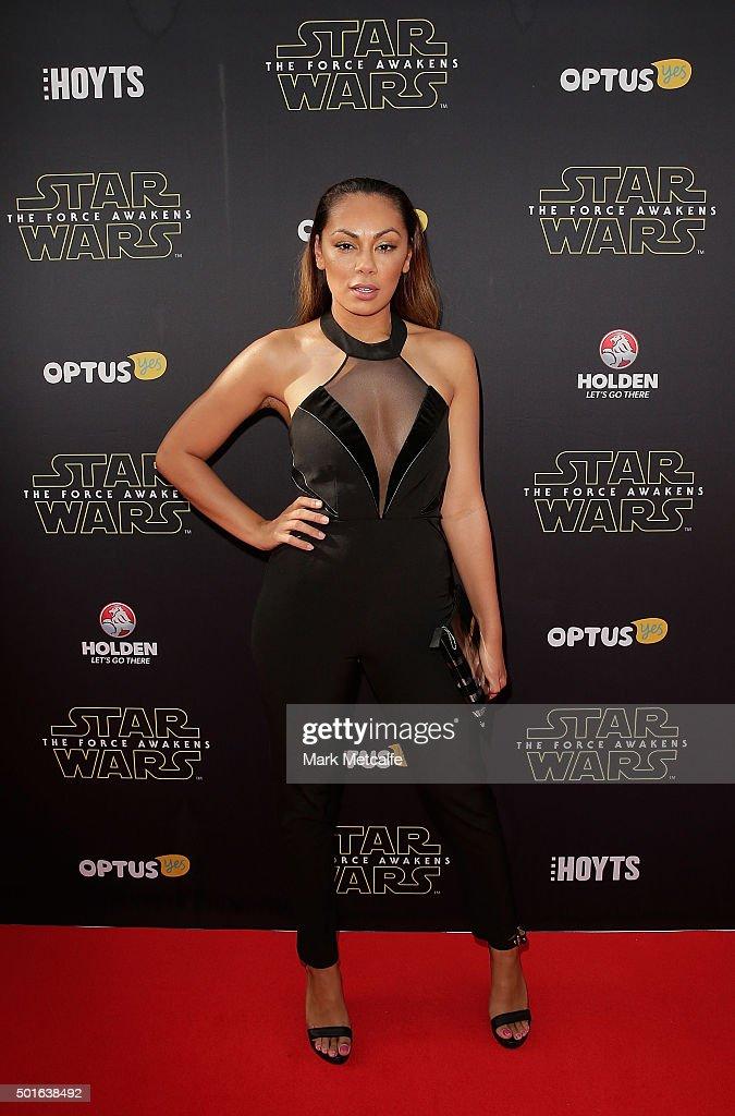 Prinnie Stevens arrives ahead of the 'Star Wars: The Force Awakens' Australian premiere on December 16, 2015 in Sydney, Australia.