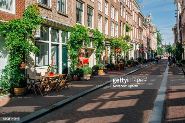 Prinsenstraat shopping street in Amsterdam, Holland, Netherlands