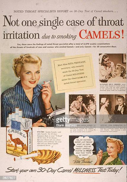 A 1950 print ad for Camel cigarettes presenting the 'true' story of secretary Rita Tennant who 'passed the 30 day test of Camel mildness under the...
