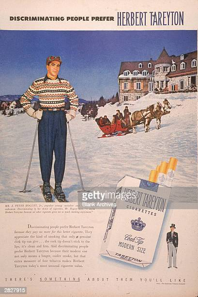 A 1950 print ad for Herbert Tareyton cigarettes showing a man on skiis outside a ski lodge and featuring the slogan 'Discriminating People Prefer...