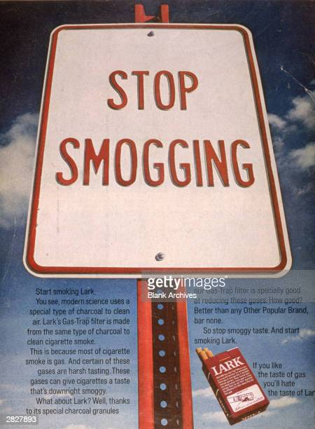 A 1970 print ad for Lark brand cigarettes showing a road sign with the slogan 'Stop Smogging'