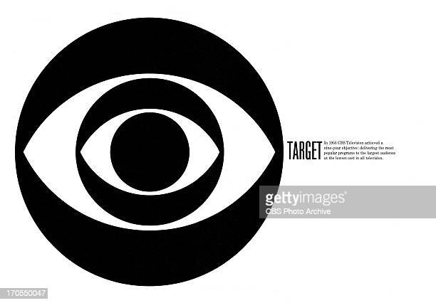 CBS print advertisement attributed to art director and designer William Golden featuring a CBS EYE logo variation The ad is titled 'Target' As per...