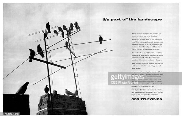 CBS print advertisement attributed to art director and designer William Golden Ad is titled 'It's Part of the Landscape' featuring an array of...