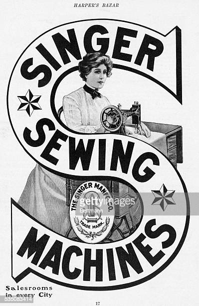 Print advertisement for Singer sewing machines Undated illustration from Harper's Bazaar