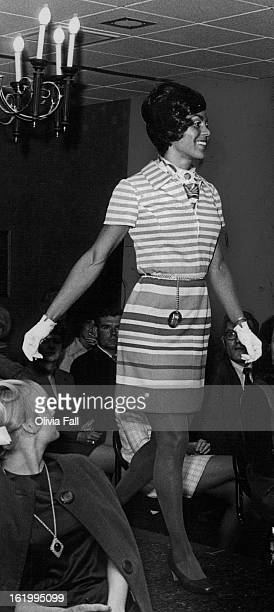 APR 15 1970 APR 16 1970 print blouse striped polyester knit