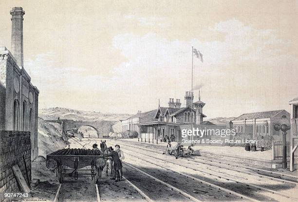 Print by Arthur Fitzwilliam Tait showing a view of the tracks and platforms of Brighouse Station on the Manchester Leeds Railway The railway was...