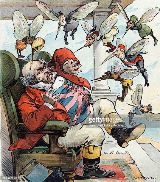 Print by Udo Keppler 18721956 artist shows John Bull sitting in a chair confronted by a swarm of mosquitos labelled Afridis [who has drawn blood from...