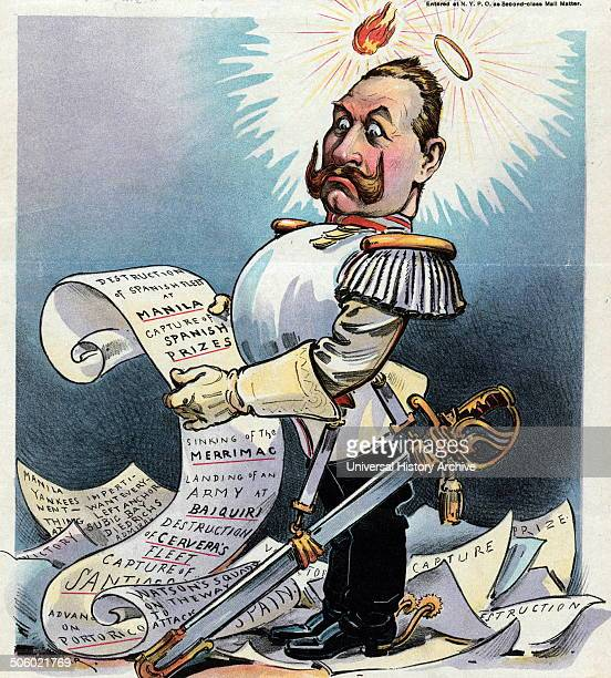 Print by Udo Keppler shows William II German Emperor fulllength portrait standing among papers looking puzzled with a flame and a halo above his head...
