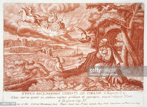 Print Depicting Elijah Carried to Heaven in a Fiery Chariot While Watched by Elisha
